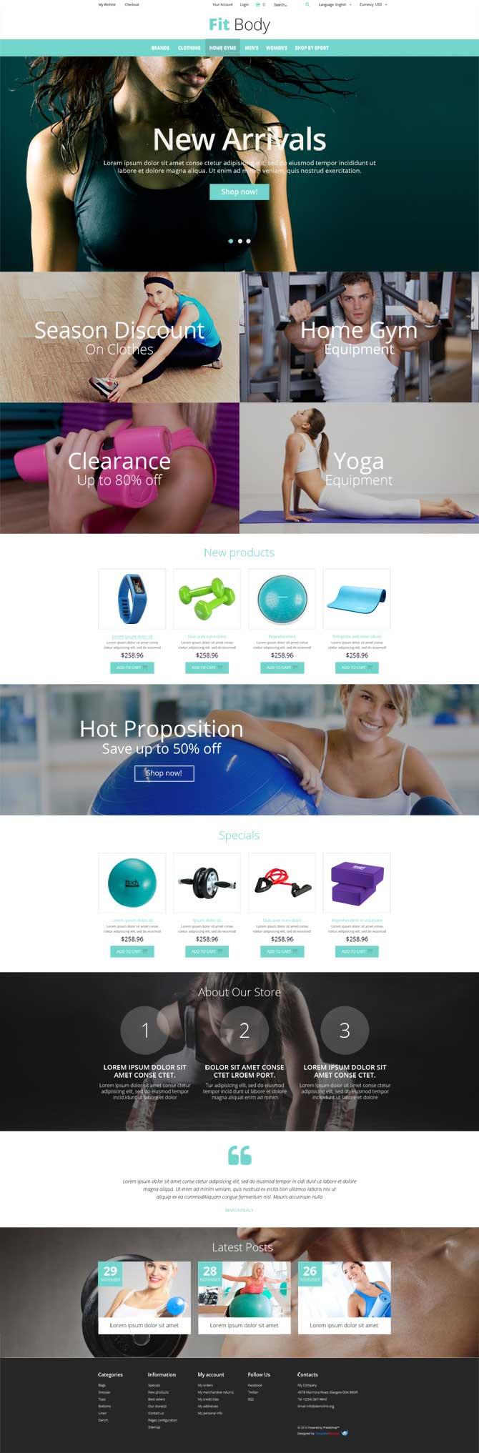 Бесплатный шаблон для Интернет-магазина спорт-инвентаря на CMS Magento